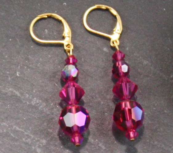Audrey Crystal Fushia Aurora Borealis Earrings - Click Image to Close