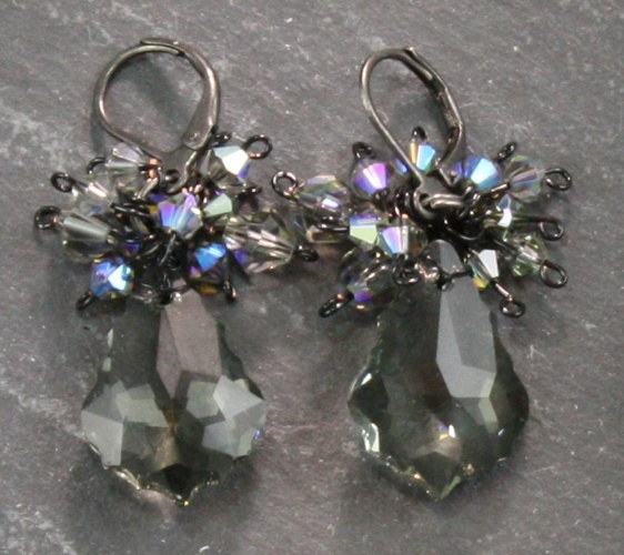 Anna Black Diamond Charcoal Grey Earrings