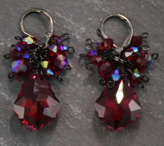 Anna Dark Siam Red Earrings