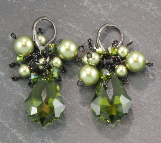 Antoinette Olivine Green Earrings