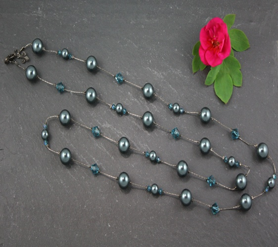 Coco Tahitian Blue Teal Necklace