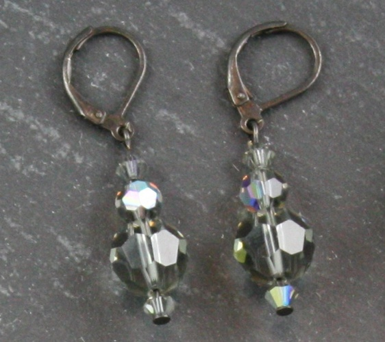 Jackie Black Diamond Charcoal Grey Earrings